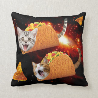 Taco Cats Space Throw Pillow