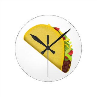 Taco Emoji Round Clock