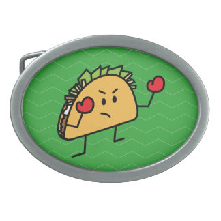 Taco Fighter Boxer tortilla shell gloves Oval Belt Buckle