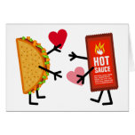 Taco & Hot Sauce - Cute Valentine's Day Hearts Greeting Card