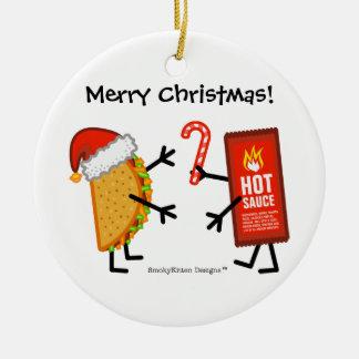 Taco & Hot Sauce - Merry Christmas! (customizable) Ceramic Ornament
