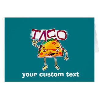 taco man cartoon style funny illustration card