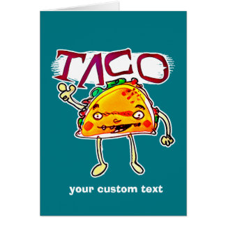 taco man cartoon style funny illustration card