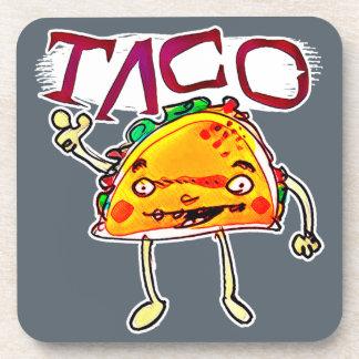 taco man cartoon style funny illustration coaster