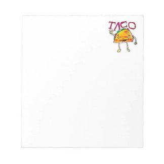 taco man cartoon style funny illustration notepad