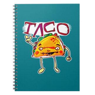 taco man cartoon style funny illustration spiral notebook