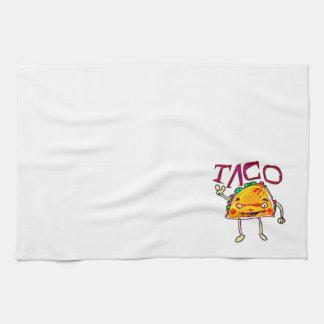 taco man cartoon style funny illustration towels