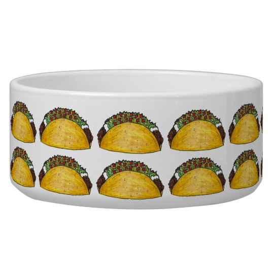 Taco Print Mexican Food Tacos Foodie Dog Pet Bowl