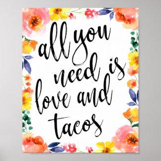 Taco Sation 8x10 Floral Wedding Sign