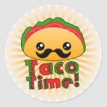 Taco Time Round Stickers