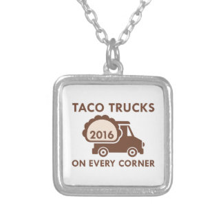 Taco Trucks On Every Corner Silver Plated Necklace
