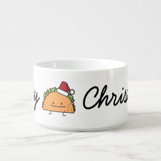 Taco wearing Santa Hat Christmas Chili Bowl