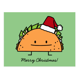 Taco wearing Santa Hat Christmas shell meat salsa Postcard
