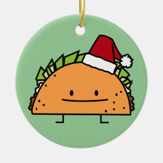 Taco wearing Santa Hat Christmas shell meat salsa Round Ceramic Ornament