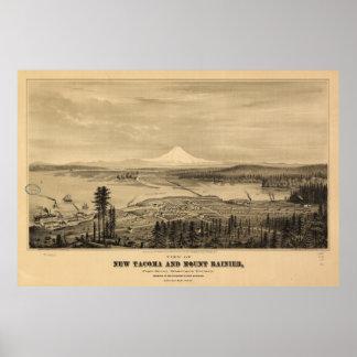 Tacoma and Mount Rainer, Washington (1878) Poster