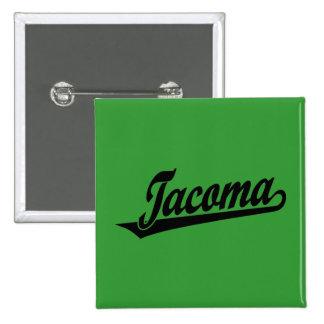 Tacoma script logo in black 2 inch square button