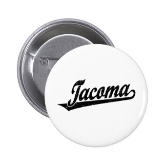 Tacoma script logo in black pinback buttons