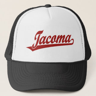 Tacoma script logo in red trucker hat