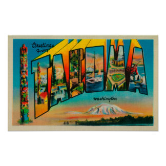 Tacoma, Washington - Large Letter Scenes Poster