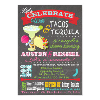 Tacos and Tequilla couples baby shower invitations