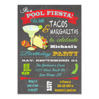 Tacos and Tequilla Pool Birthday Party Invitation