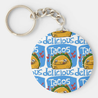 tacos delicious cartoon style illustration basic round button keychain