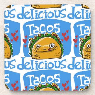 tacos delicious cartoon style illustration coaster