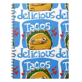 tacos delicious cartoon style illustration notebook