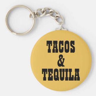 Tacos & Tequila Basic Round Button Keychain