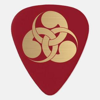 Tadpole Mon Japanese samurai clan brushed gold Guitar Pick