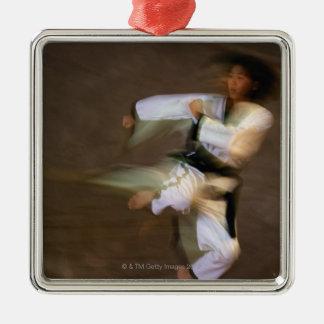 Tae Kwon Do Leap Kick Metal Ornament