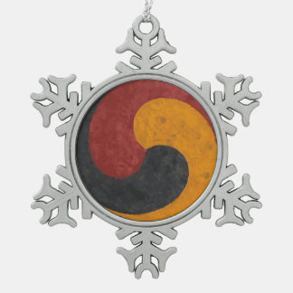 TaeGuk Snowflake Pewter Christmas Ornament