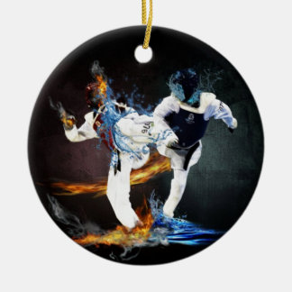 taekwondo ceramic ornament