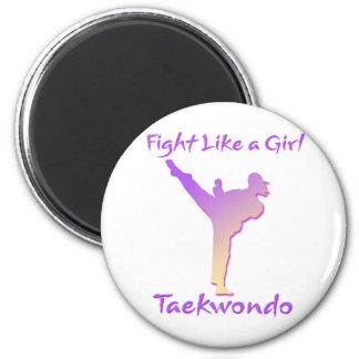 Taekwondo Girl 2 Inch Round Magnet