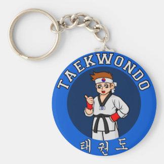 taekwondo guy badge basic round button keychain