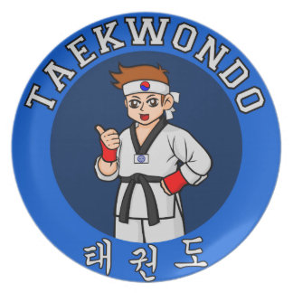 taekwondo guy badge dinner plate