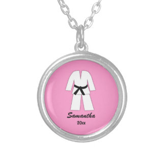 Taekwondo Karate Black Belt Pink Personalized Silver Plated Necklace