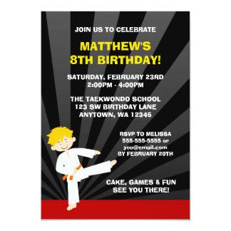 "Taekwondo Karate Orange Belt Birthday Invitations 5"" X 7"" Invitation Card"