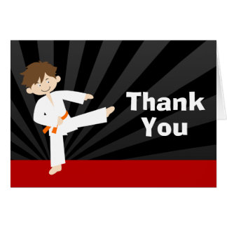 Taekwondo Karate Orange Belt Birthday Thank You Card