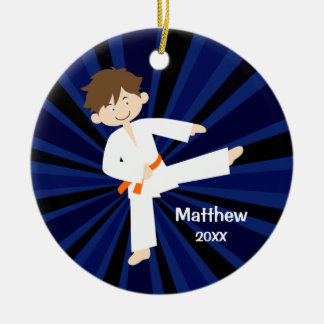 Taekwondo Karate Orange Belt Boy Personalized Round Ceramic Ornament