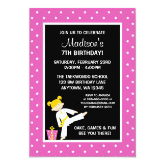 Taekwondo Karate Pink Stars Blonde Girl Birthday Card