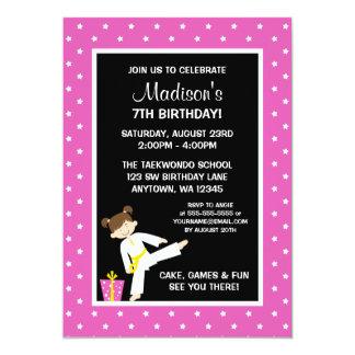 Taekwondo Karate Pink Stars Girl Birthday Card