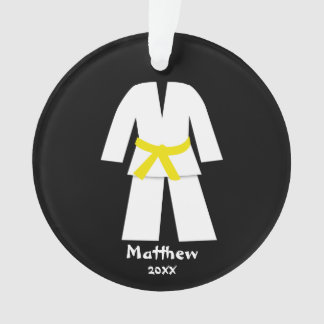Taekwondo Karate Yellow Belt Personalized Ornament