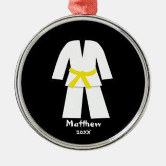Taekwondo Karate Yellow Belt Personalized Silver-Colored Round Ornament