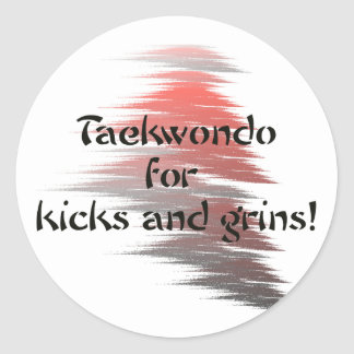 Taekwondo Kicks and Grins Round Stickers