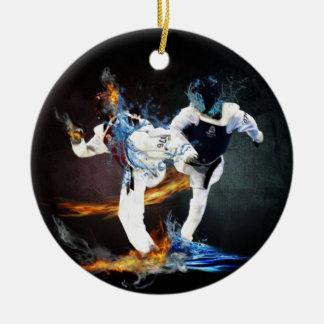 taekwondo round ceramic ornament