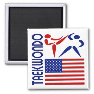 Taekwondo United States Square Magnet
