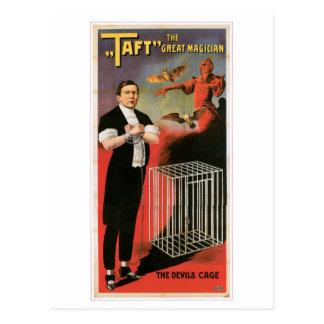 Taft ~ Magician Devils Cage Vintage Magic Act Postcard