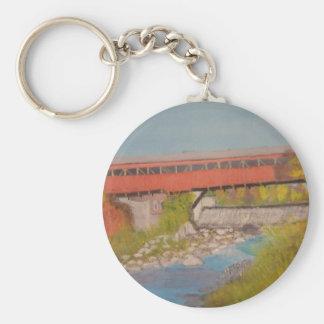 Taftsville Covered Bridge IV Basic Round Button Keychain
