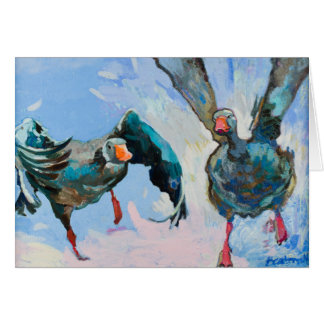 Tag! Geese Playing Games Customizable Card